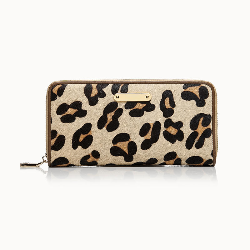Ladies Long Zip Leopard Print Hair Calf Wallet leather wallet with zipper