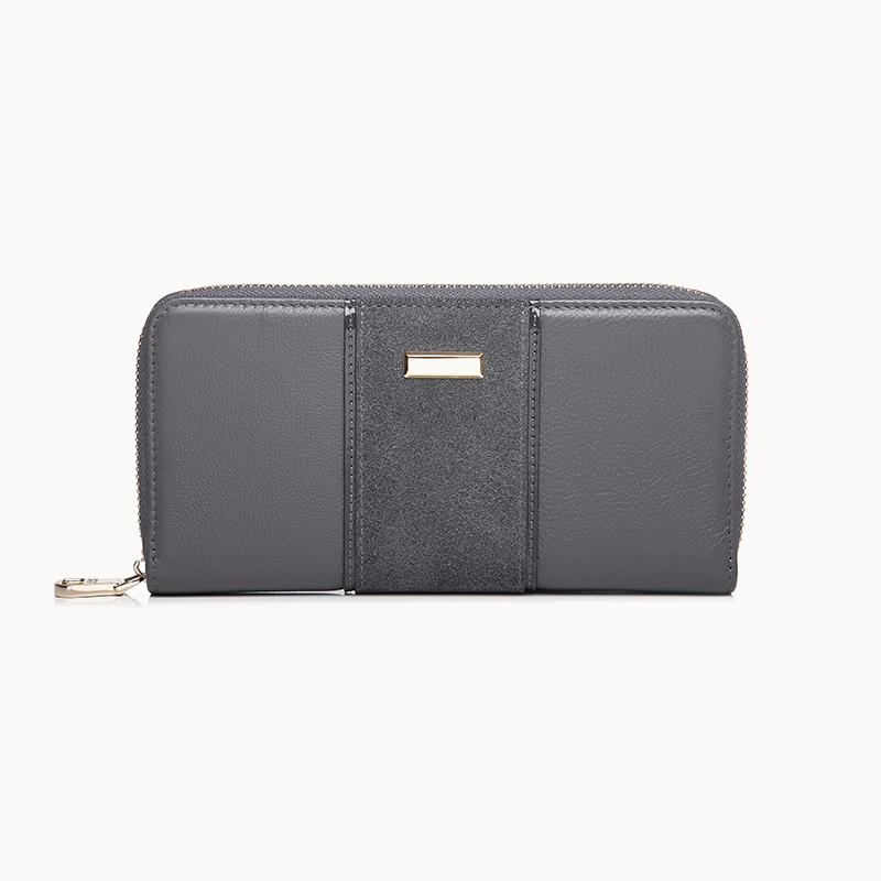 Nubuck & Pebble Leather Long Zip Wallet For Women