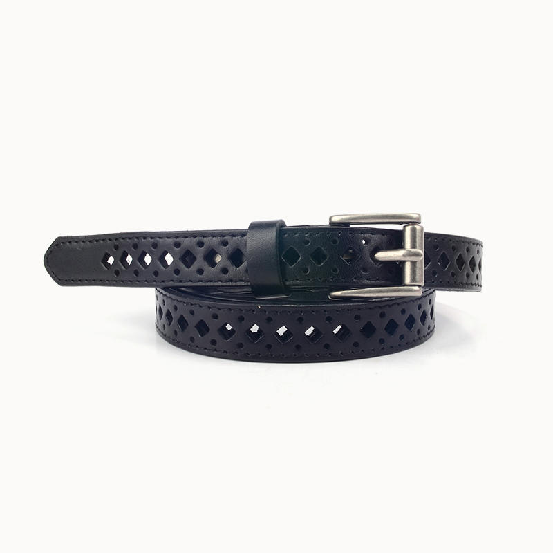 Punched Hole Customized Women Fashion Leather Belt leather belt hole puncher black belt laser punching belt