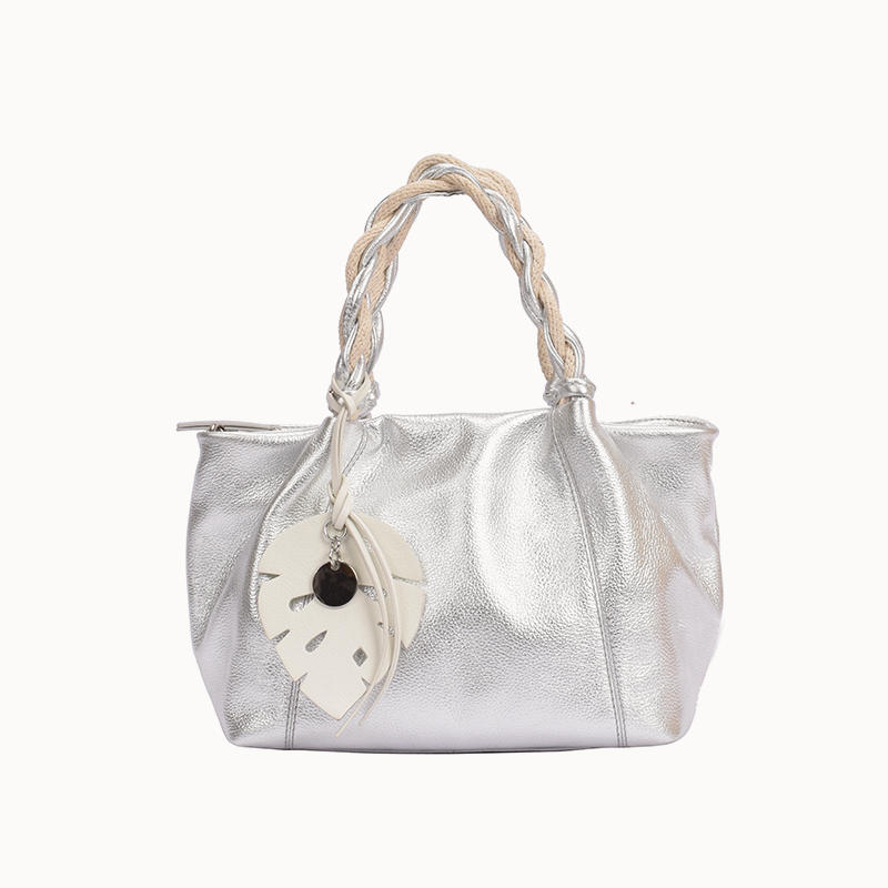 Small Tote With Twisted Leather Handles/ satchel bag for ladies