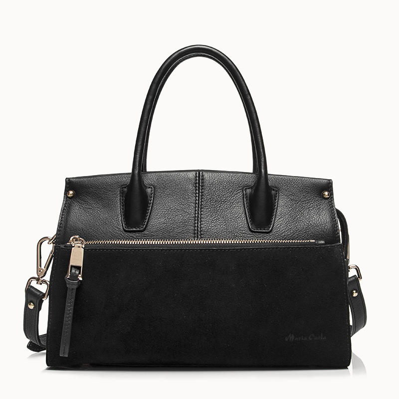 Leather hadnbag satchel bag with zipper pocket in suede