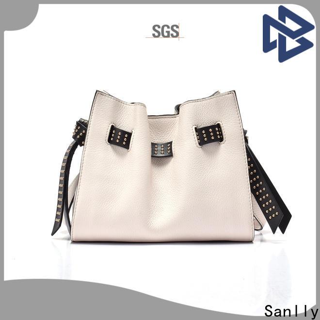 Sanlly classic brown leather shoulder handbags bulk production for girls