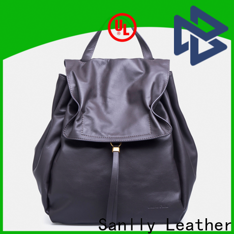 Sanlly real ladies black leather backpack free sample for girls