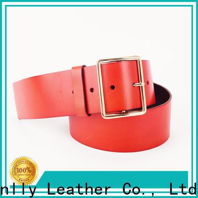 Sanlly belts brown leather belt gold buckle supplier for girls