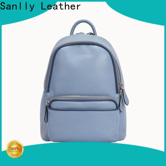 Sanlly real black leather womens backpack buy now for women