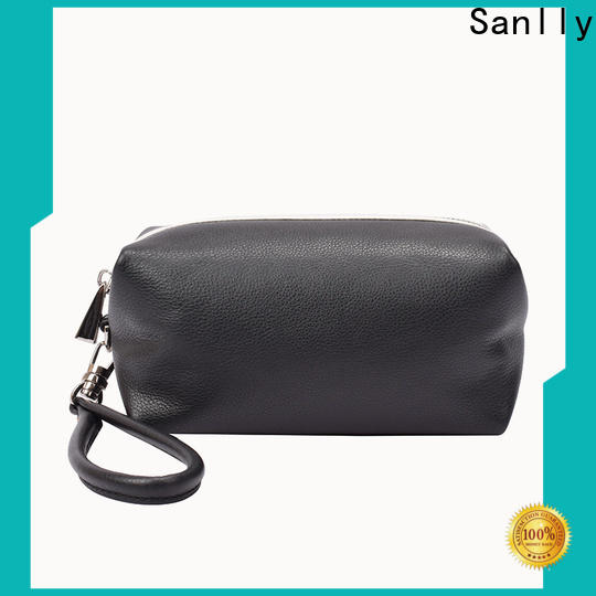 Sanlly portable leather wristlet black for business for modern women