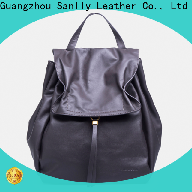 Sanlly ladys small black leather backpack purse for business for modern women