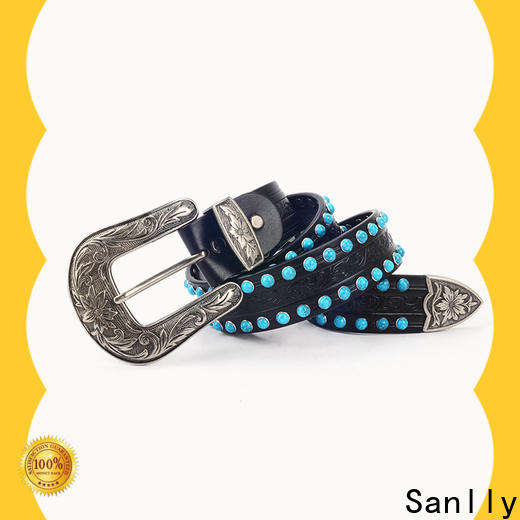 funky wide black leather belt womens party manufacturers