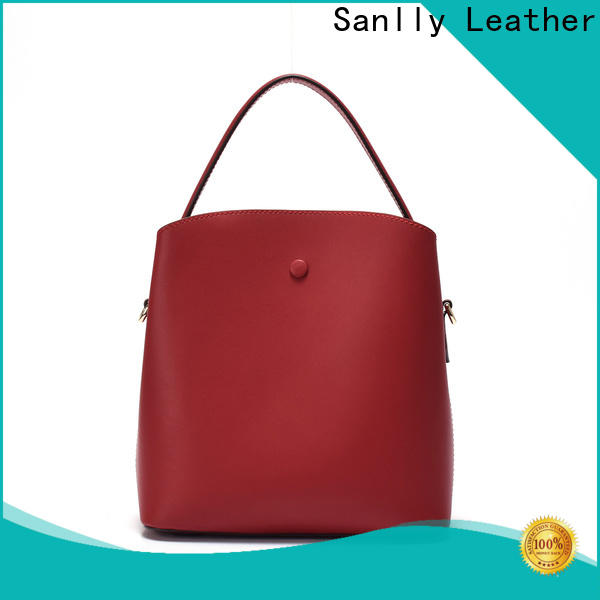 durable black leather handbag with shoulder strap daily bulk production for shopping
