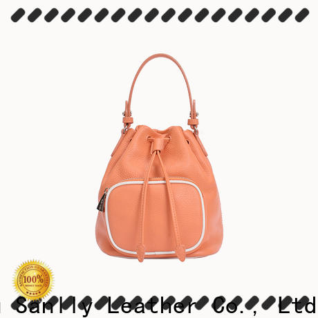 Sanlly High-quality small leather drawstring bag buy now for fashion