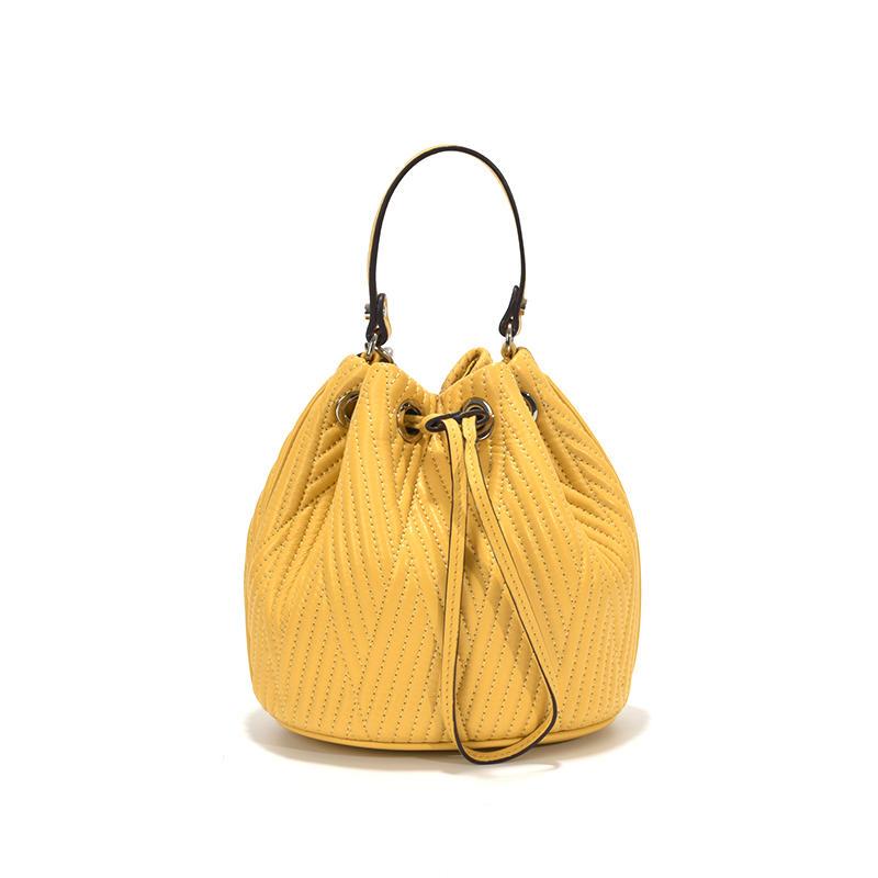 New wholesale lamb skin Mini embroidered thread Bucket Bag