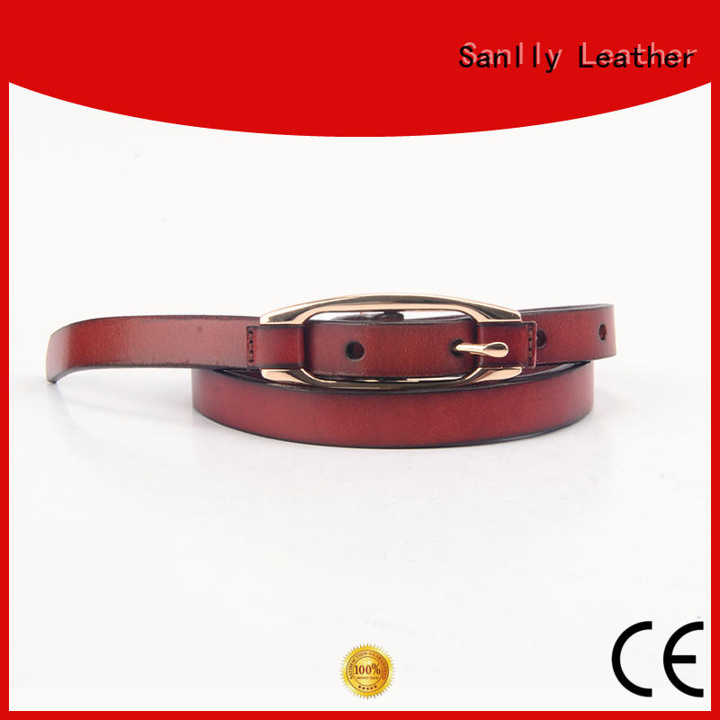 Sanlly solid men's fashion leather belts free sample for modern men
