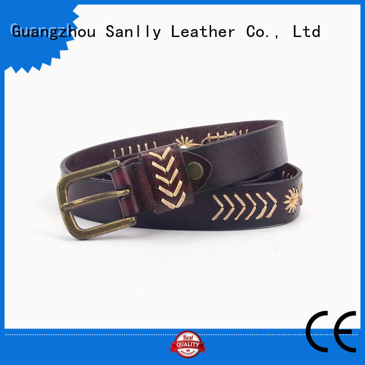 Sanlly full black and gold designer belt OEM for modern men
