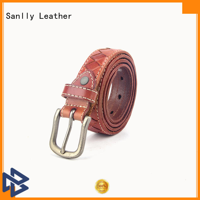 Sanlly high-quality men's leather belts free sample for men