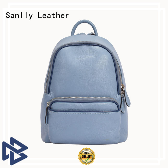 Sanlly real mens leather backpack free sample for girls