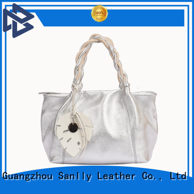 Sanlly soft ladies tan leather handbags Supply for women