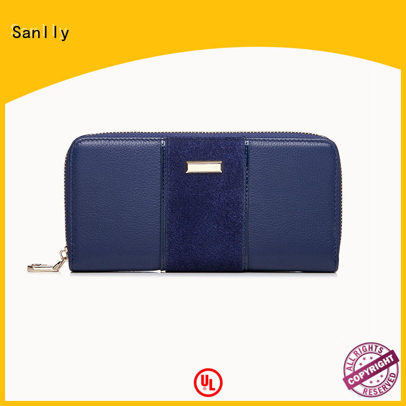 nubuck leather zip wallet women's haircalf for women Sanlly