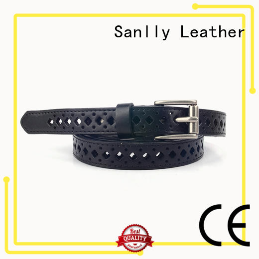 Sanlly High-quality ladies black leather belt with gold buckle OEM