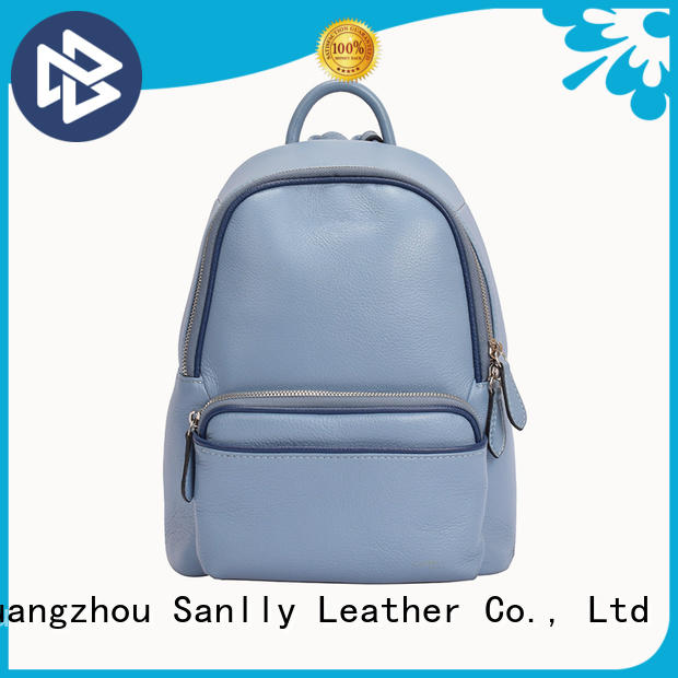 Sanlly design black leather backpack with gold customization for shopping