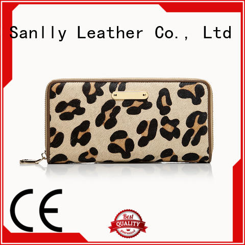 Sanlly haircalf ladies leather billfolds ODM for women