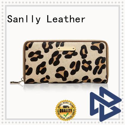 Sanlly zipper leather zip wallet women's free sample for girls
