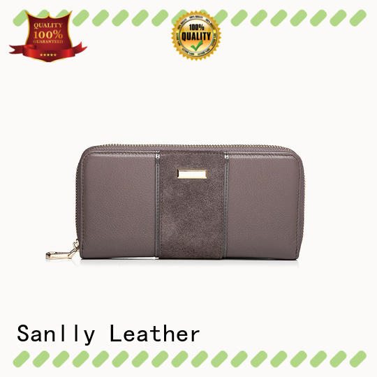Sanlly card ladies leather wallets bulk production for women