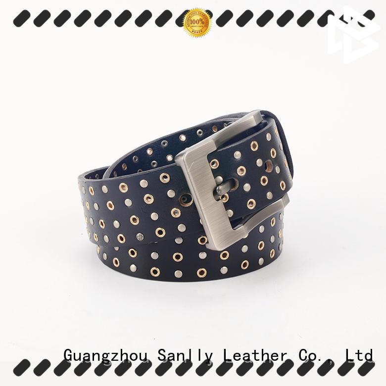 Sanlly all mens black braided leather belt customization for modern men