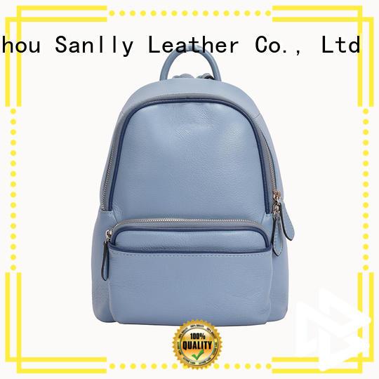 Sanlly Custom tan leather rucksack OEM for women