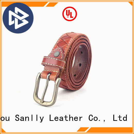 Sanlly Wholesale mens navy leather belt bulk production for shopping