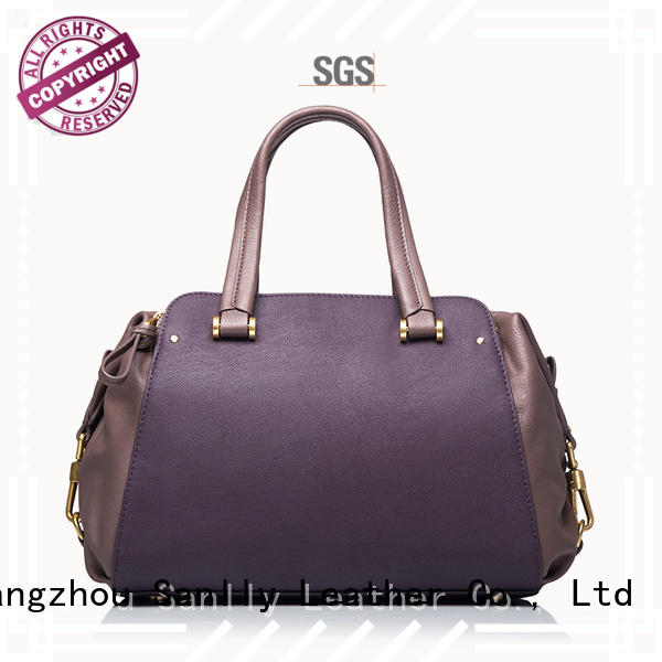 Sanlly Breathable small leather handbag cow for shopping