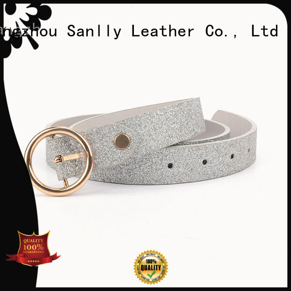 Sanlly leather womens black woven belt factory