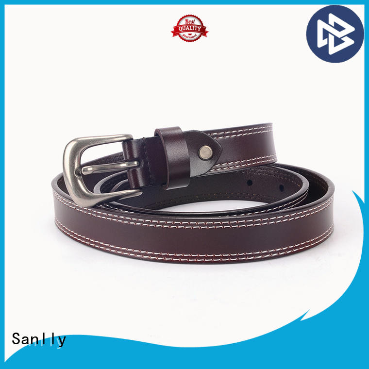 Sanlly design mens navy leather belt free sample for shopping