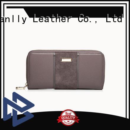 Sanlly latest leather zip wallet women's OEM for modern women