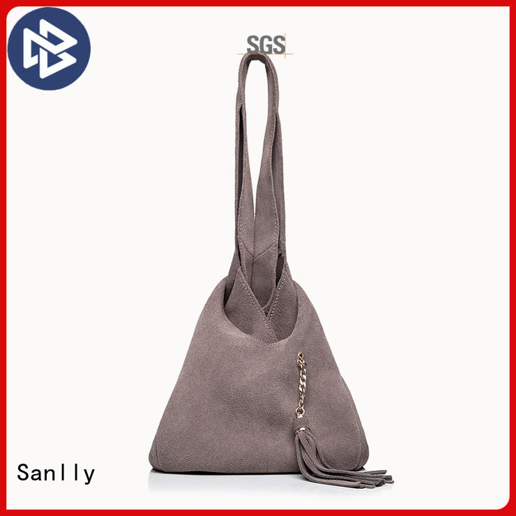 Sanlly solid mesh ladies leather tote bag OEM for shopping