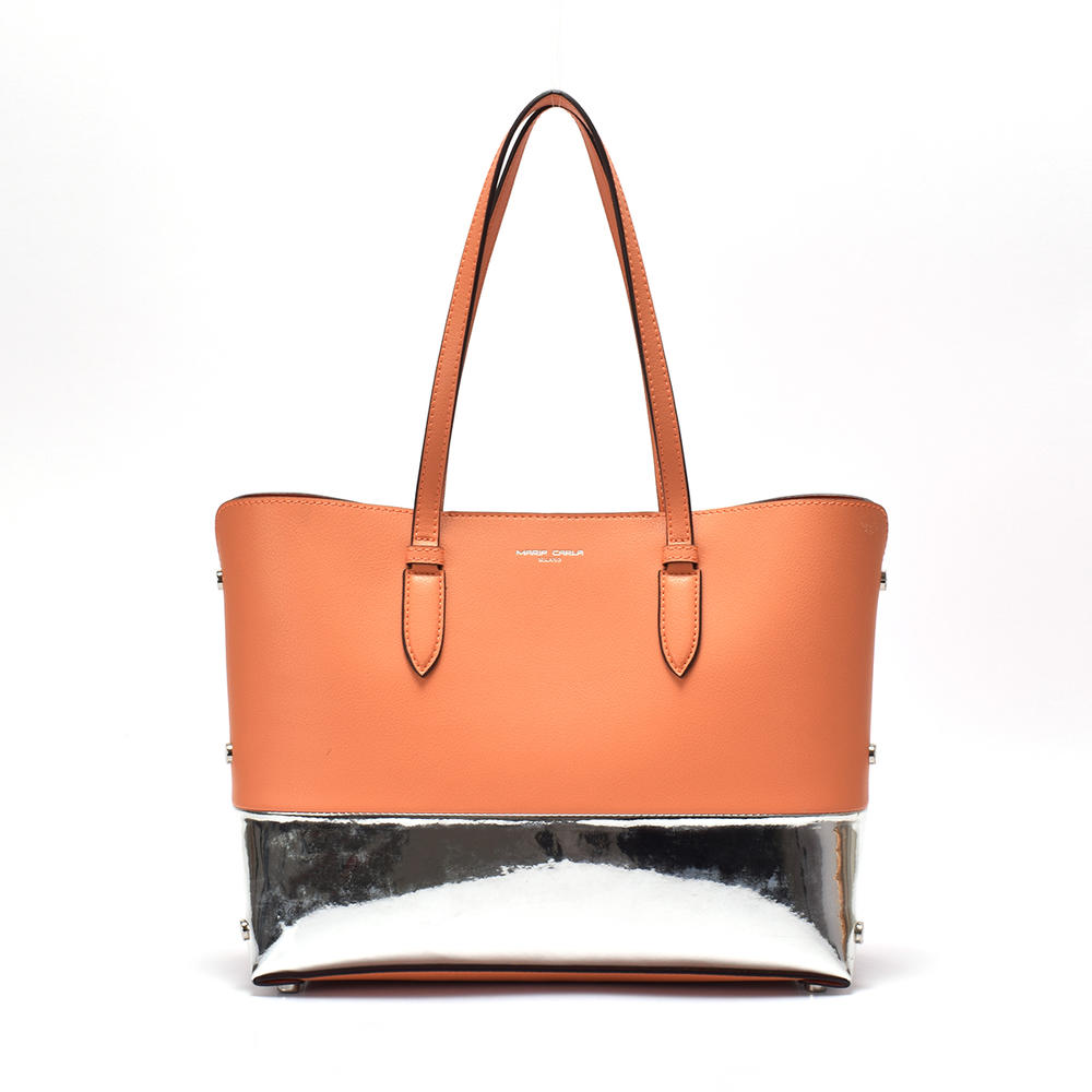 Customized Large Leather Tote two-tone From China