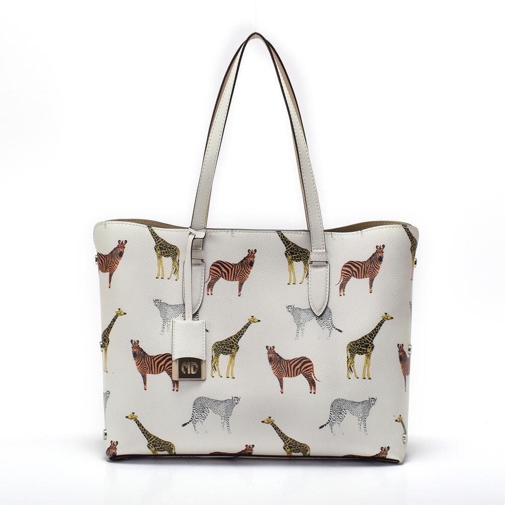 Printed leather tote in stock handbag
