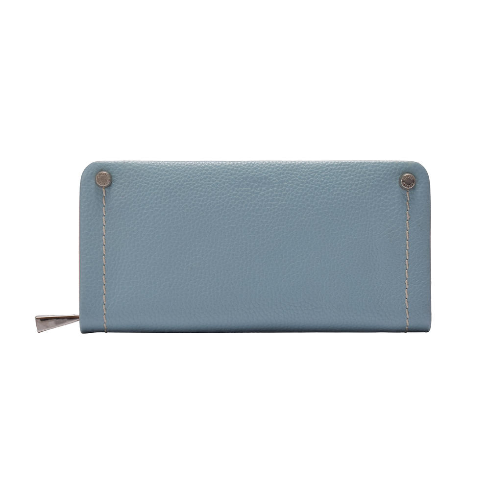 Long zipped wallet in leather for ladies