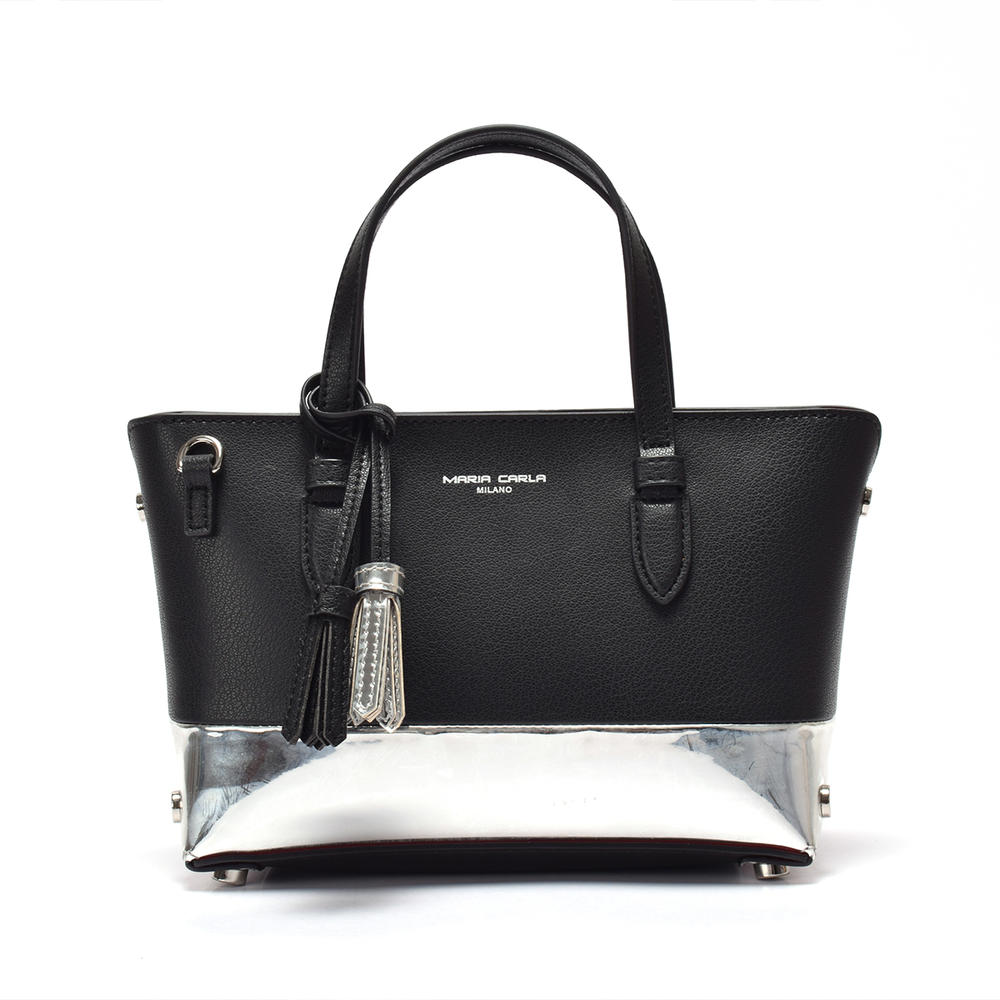 Small Leather tote for ladies/two tone shoulder bag