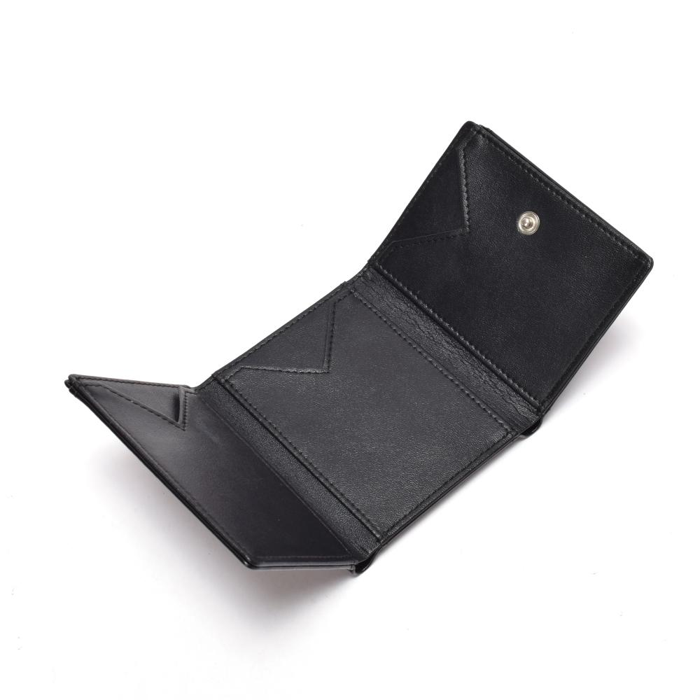 Trifold women's wallet  black leather women's wallet  leather wallet for ladies