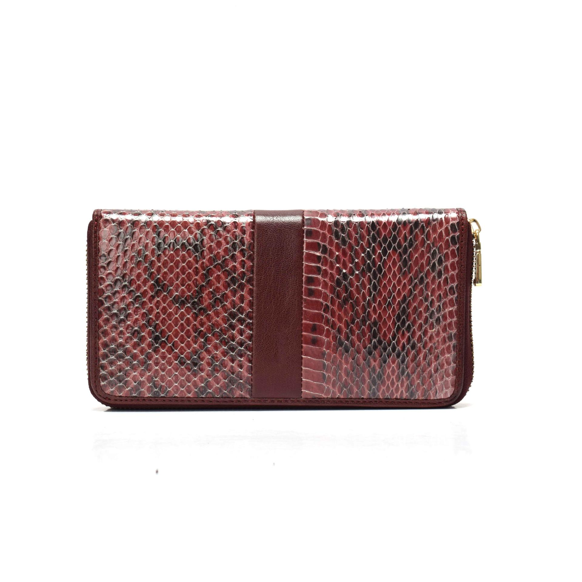 Zip wallet for women ladies wallet python wallet in leather  women's leather wallet