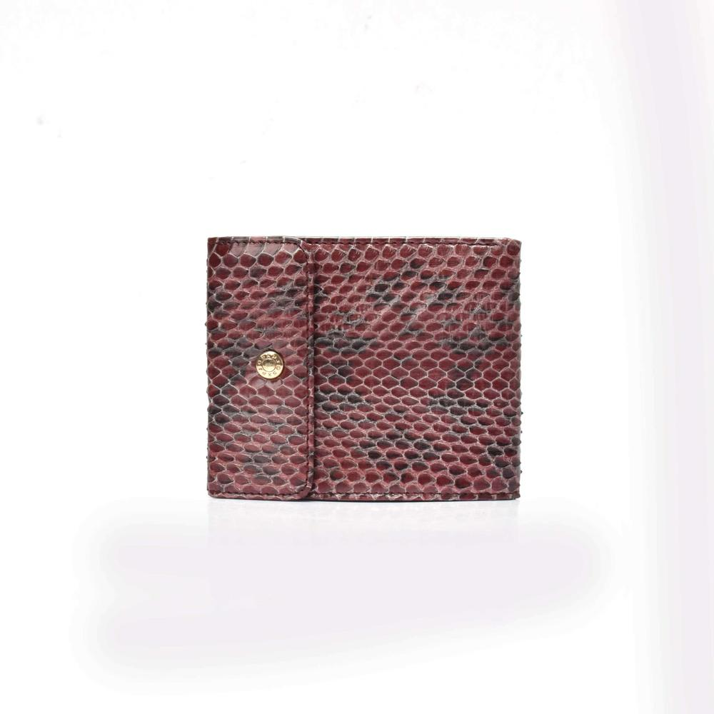 Folding wallet for women python wallet in leather   women's wallet with flap