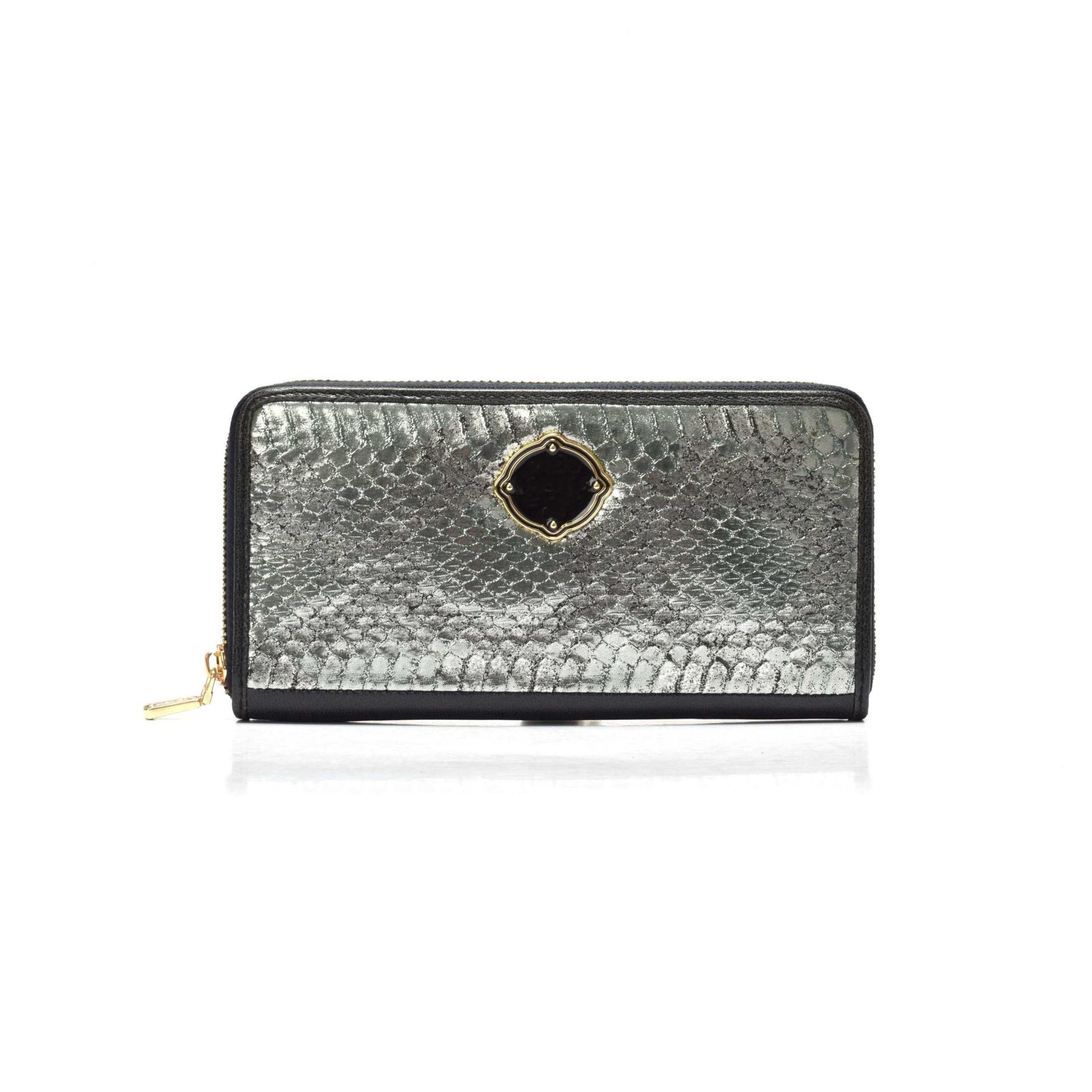 Top Quality Leather zip wallet for women silver snake wallet for ladies Wholesale-Sanlly